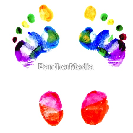 footprints of feet painted in various
