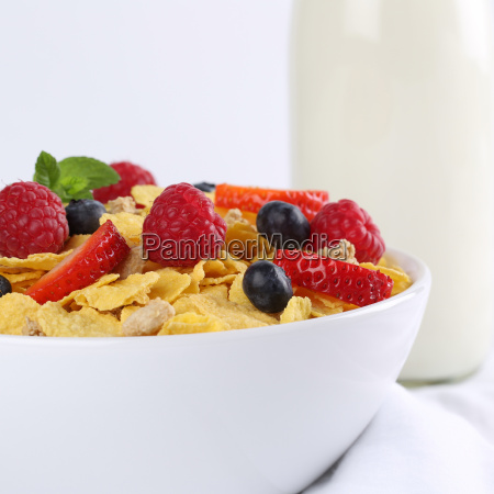 fresh fruits with milk and cornflakes