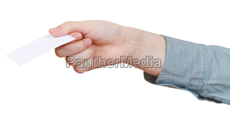 blank business card in womans hand