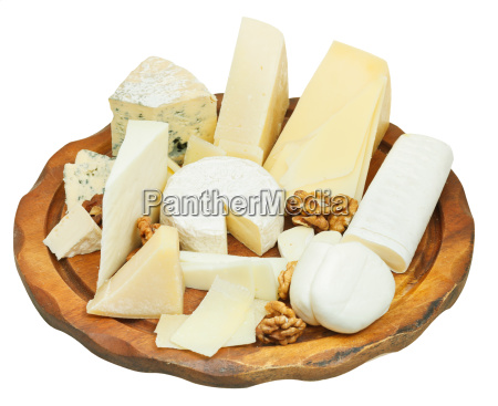various cheeses plate isolated on white