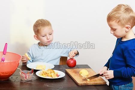 blond boys children kids with kitchen