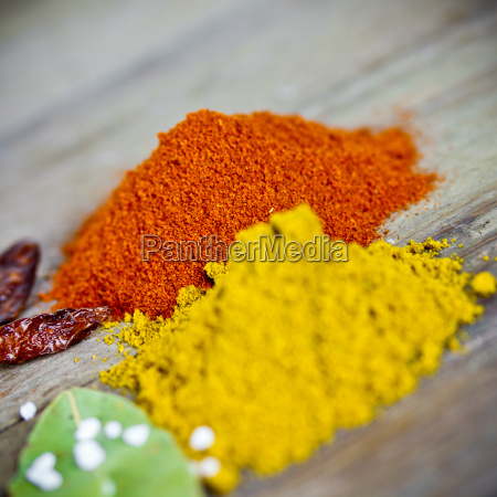 spices on wooden board