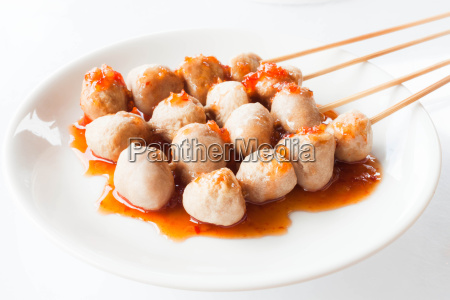 mini pork balls in white plate