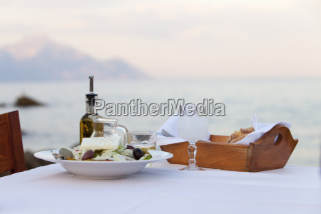 greek salad and the sea