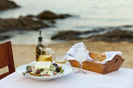 greek salad and the sea
