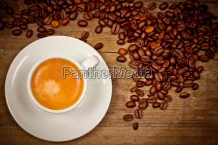 espresso cup with coffee beans