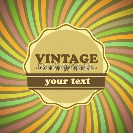 vintage label on sunrays background