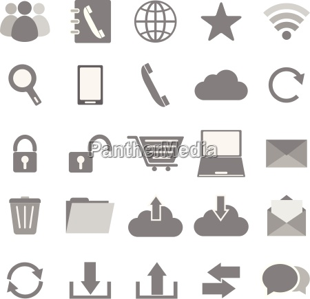 communication icons on white background