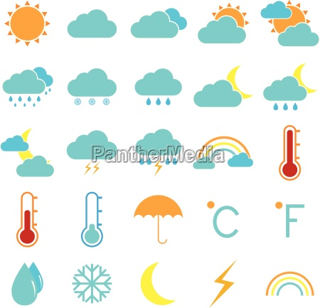 weather and climate color icons on