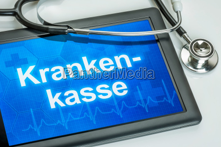 tablet with the text health insurer