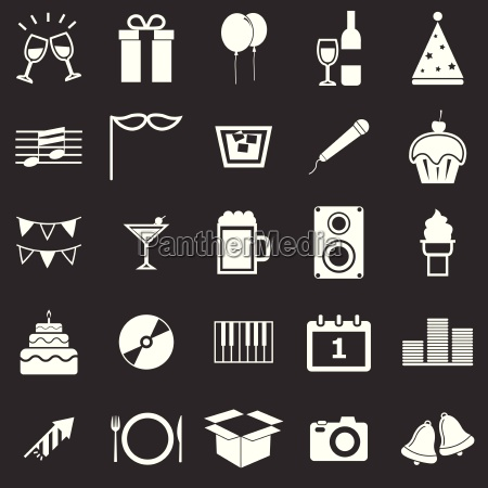 new year icons on black background