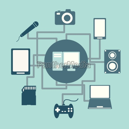 technology connections concept idea in flat