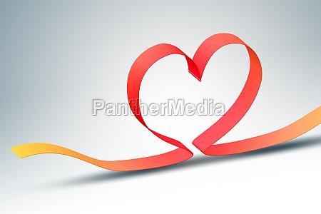 heart ribbon red