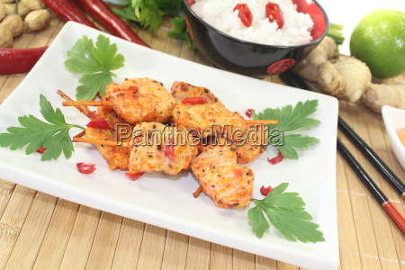 asian satay skewers with chilli and
