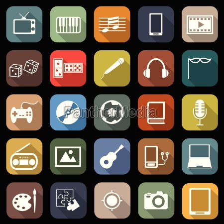 entertainment flat icons with long shadow