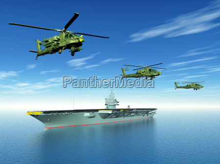 apache helicopter and aircraft carrier
