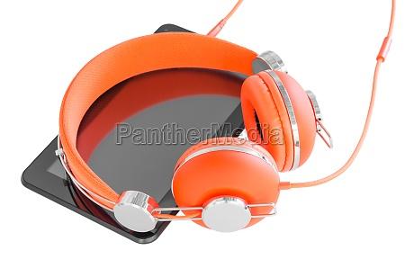 vivid orange headphones and black tablet
