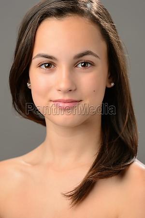 beautiful teenage girl cosmetics skin care