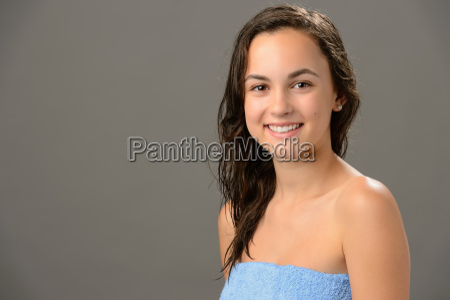 teenage girl wet hair after shower