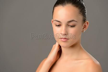 beauty portrait teenage girl soft skin