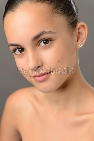 teenage girl bare shoulders skin beauty