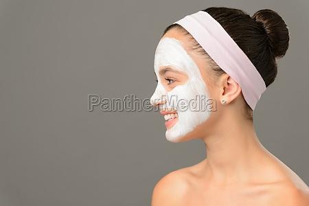 teenage girl cosmetics mask beauty looking