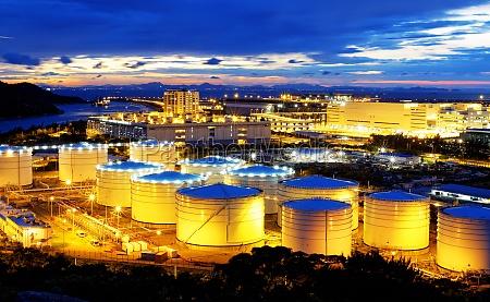 oil tank in sunset