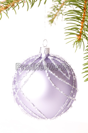 traditional christmas ball suspended on a