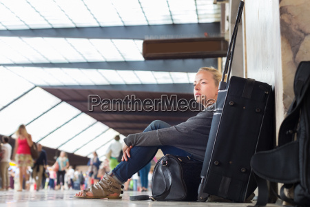 female traveler waiting for departure