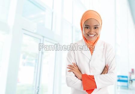 muslim female nurse in hospital