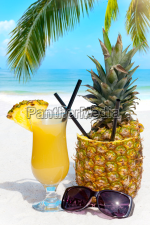 fruity cocktails on the beach