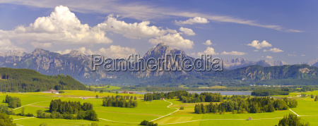 panoramic landscape in bavaria with mountains