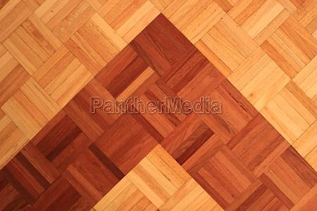 teakwood floor of quadratic sticks forming
