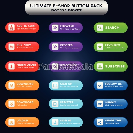 collection of web buttons for e
