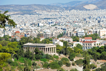 view of athens city with temple
