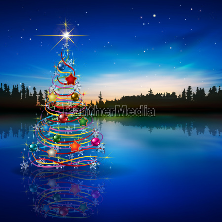 abstract blue celebration greeting with christmas