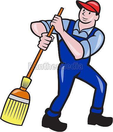 janitor cleaner sweeping broom cartoon