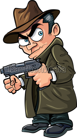 cartoon gangster with a gun and