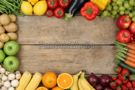 fruits and vegetables on wooden board
