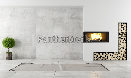 modern interior with fireplace