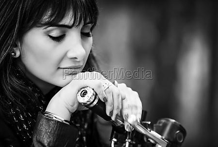 beautiful biker woman