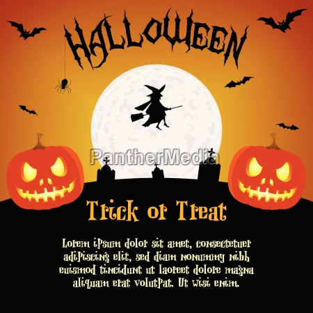 cartoon halloween illustration with text placeholders
