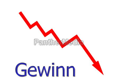 red graph down gain