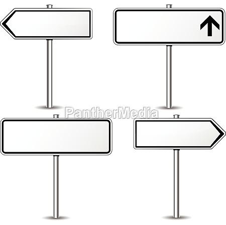 vector white signpost set