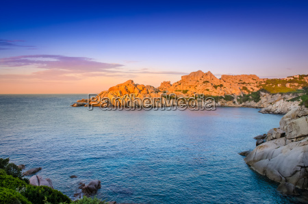 ocean rocky coastline colorful sunset view