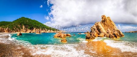 beach scenic panoramic view in costa
