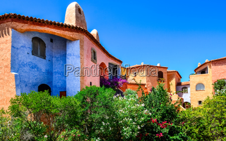 beautiful colorful houses with nice garden