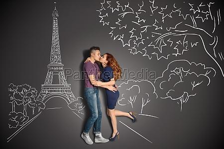 romantic kiss in paris