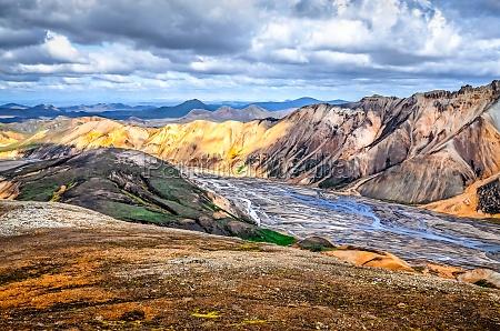 scenic landscape view of landmannalaugar colorful