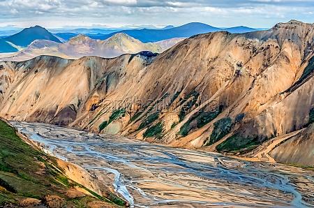 scenic view of landmannalaugar colorful mountains